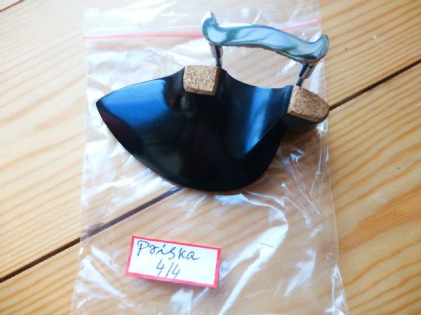 EBONY VIOLIN CHIN REST, PRISKA MODEL, WITH CORKED CLAMP, 4/4, FROM UK